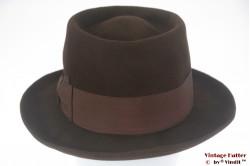 Round Gambler hat Borsalino brown felt 57