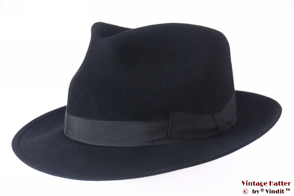 Fedora Feiner Haarvilt teardrop-shaped black felt 54 (XS)