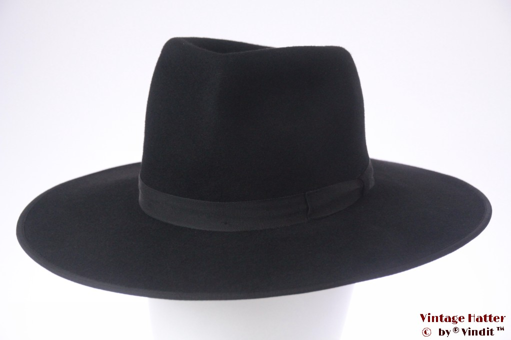 Wide Tiroler gents hat Spezial black felt 56