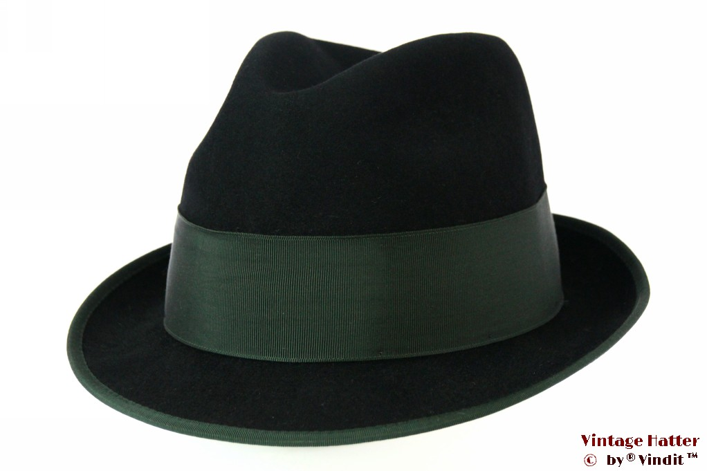 Hunting fedora Mayser black with green band 57