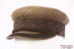 Captains cap Prinz Heinrich beige brown leather 56