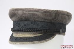 Kapiteinspet Fiebig beige grijs ribfluweel 55,5 (S)