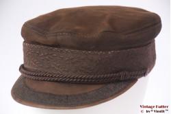 Captain's cap Prinz Heinrich brown leather 59