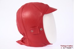 Aviator cap red leather 56-59 [new]