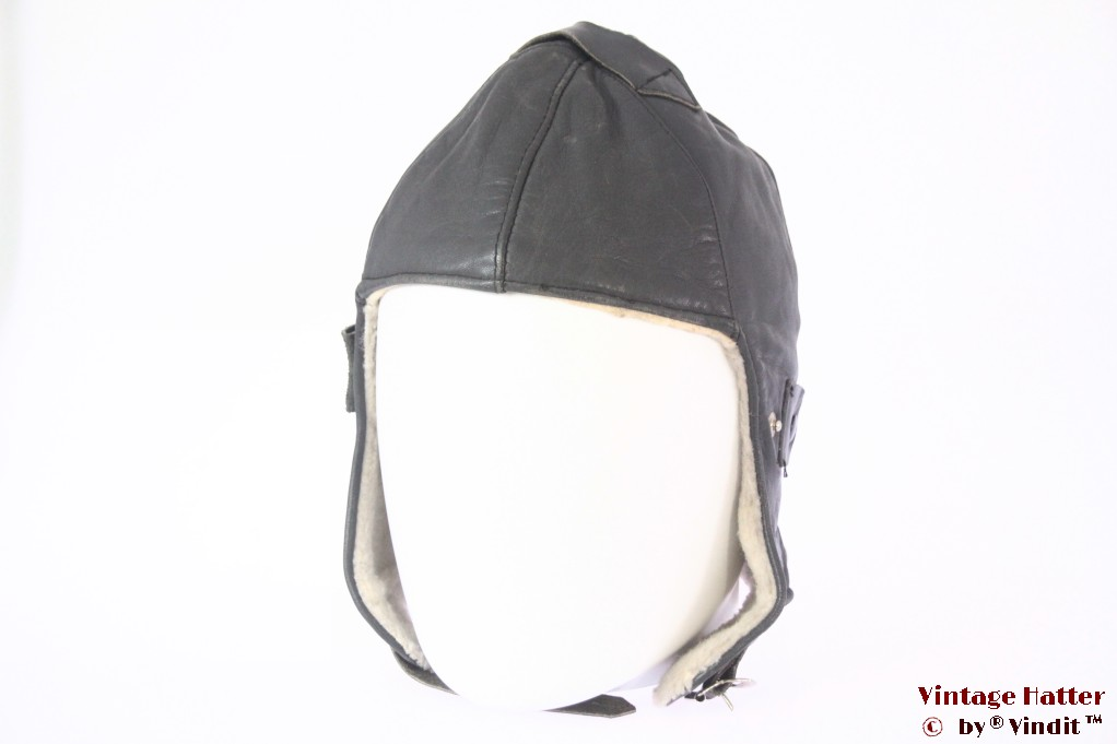 Aviator cap dark grey leather with winter lining 54,5 (XS)