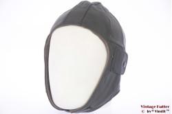 Aviator cap dark grey leather 57