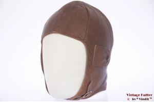 Aviator cap orange brown leather 54-56 (xs-s)