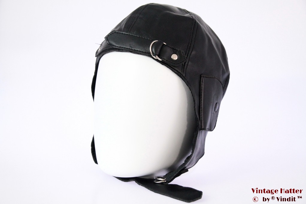 Aviator cap black polyester 57-61 (L/XL) [new]