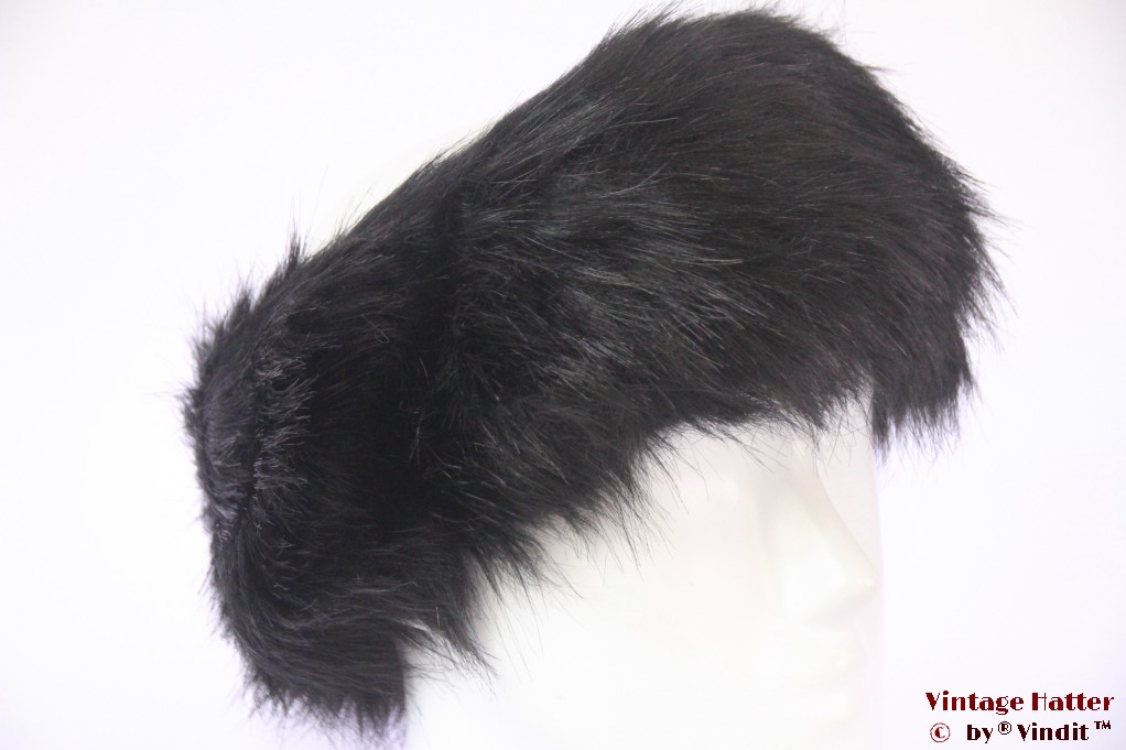 Headband black faux fur 53-55 (XXS) [new]