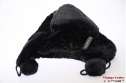 Hawkins aviator type hood black faux fur with pompons 57 [new]
