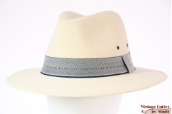 Outdoor fedora Hawkins ivory white cotton with blue striped band 59 [new]