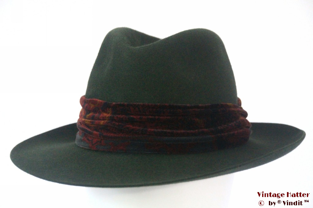 Outdoor fedora Mayser Condor green felt with scarf 57