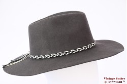 Wide outdoor fedora Brixton Midland grey stiff felt 59 [New Sample]