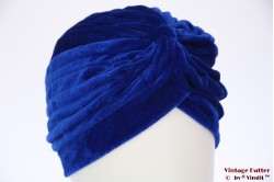Tulband blauw fluweel 55-59 [nieuw]