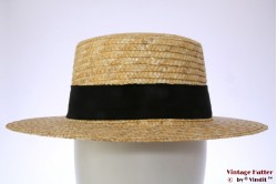Boater hat Hawkins yellow straw 58 [new]