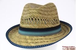 Stro gleufhoed Hawkins met blauwe band 58-60 [nieuw]