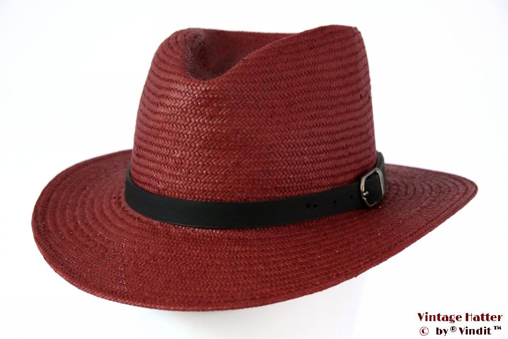 Fedora Brixton Leighton 'burgundy' redish brown straw 56 [New Sample]