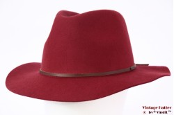 Fedora Brixton Wesley cowhide dark red 56-58 Adjustable Packable [New Sample]