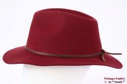 Fedora Brixton Wesley cowhide dark red 56-58 Adjustable Packable [New Sample]