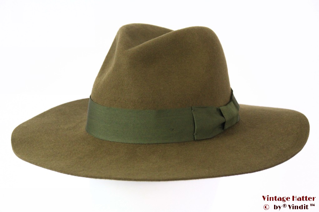 Wide brim fedora Brixton Duvall olive green 56,5 [New Sample]