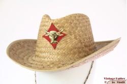 Western hoed geel stro met rode buffel-patch 56