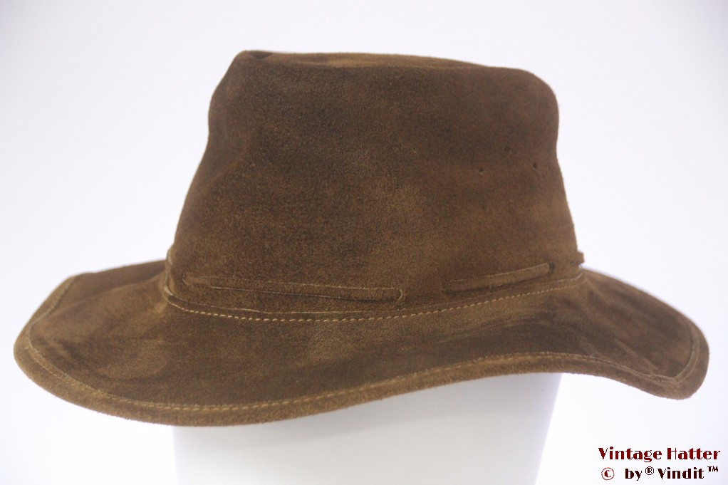 Australian western hat yellowish brown flexible roughed leather 57