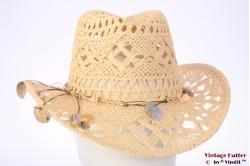 Summer Western hat Hawkins yellow beige with shells 57 [new]
