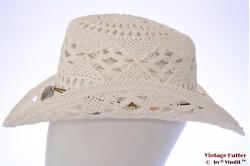 Zomer Western hoed Hawkins wit met schelpen 57 [nieuw]