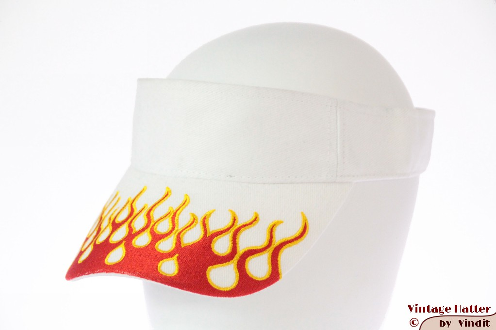 Visor SkyHigh white with red flames and velcro 52-63 [new]