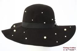 Floppy hoed zwart met fake parels 56