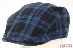 Flatcap black and blue plaid 54