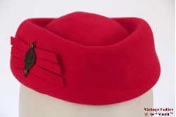 Pillbox stewardess hat Marzi red with labels 55