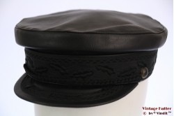 Captain's cap KanGo black leather 58