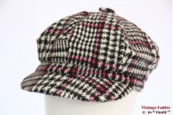 Balloon cap houndstooth with pink 54-60 [new]