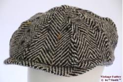 Paperboy cap Hawkins thick tweed grey herringbone 60 [new]