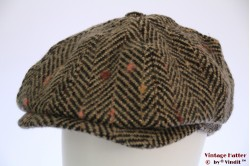 Paperboy cap Hawkins thick tweed brown pink herringbone 60 [new]