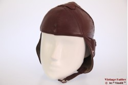 Aviator cap brown leather children size 51-52