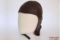 Aviator cap brown faux leather 56