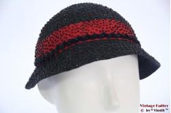 Cloche hat Alfreda dark blue with beads 54