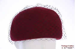 Cocktail hat burgundy with lace 55