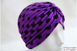 Turban purple polkadot stretch 53 - 59 [new]
