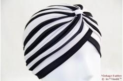 Turban white black striped stretch 53 - 59 [new]