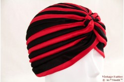 Turban red black striped stretch 54-60 [new]