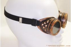Steampunk lasbril (Goggles) rood koper