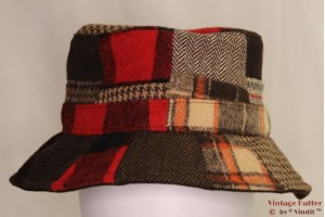 Fisherman hat patchwork brown/red 58 [new]