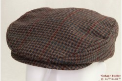 Flatcap beige brown with burgundy and azure 55