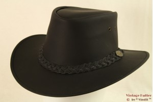 Western hat Hawkins black leather 57 [new]