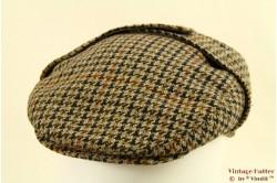 Flatcap brown grey tweed with earwarmer 56