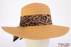 Ladies floppy beach hat Hawkins beige with leopard scarf 54-57 [new]