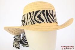 Ladies floppy beach hat Hawkins yellow with zebra scarf 54-57 [new]